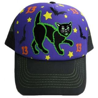 Halloween Black Cat 13 Mesh Trucker Hat Cap Clothing