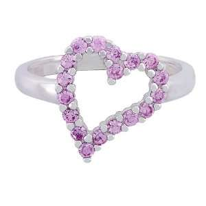 Platinum Plated Sterling Silver Pink Cubic Zirconia Heart Shaped Ring