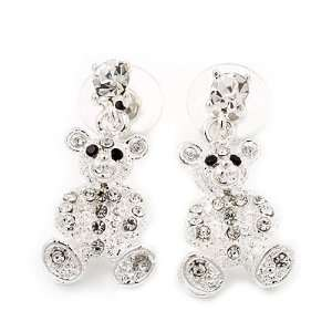 Plated Crystal Cute Bear Stud Drop Earrings   3cm Length Jewelry