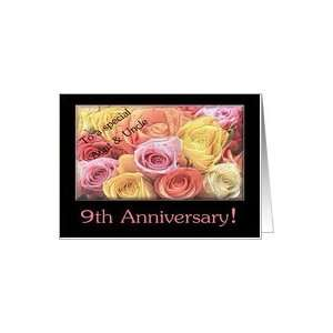 9th Anniversary mixed rose bouquet Aunt & Uncle Card