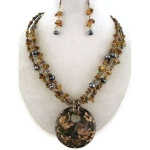 ~ Brown Murano Glass Necklace and Earrings Set