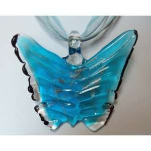 Fashion Jewelry ~ Murano Glass Blue Butterfly Pendant Cord and Ribbon