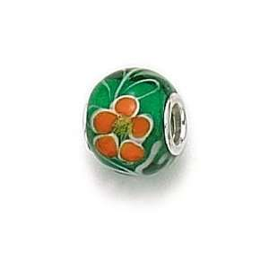 Green/Orange Flower Murano Glass Bead / Charm Finejewelers Jewelry