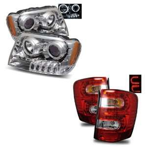 99 04 Jeep Grand Cherokee Chrome CCFL Halo Projector Headlights + LED