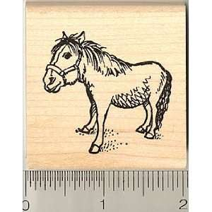 Miniature Horse Rubber Stamp   Wood Mounted