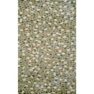 Indoor/Outdoor Hand Tufted Area Rug Pebbles 3 6 x 5 6 Blue Carpet