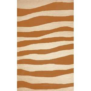 Indoor/Outdoor Hand Tufted Area Rug Wavey Stripe 5 x 8 Orange Carpet