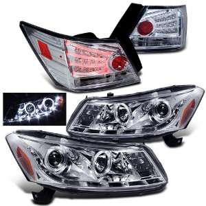 Honda Accord 4 Door Twin Halo LED Projector Head+led Tail Lights New