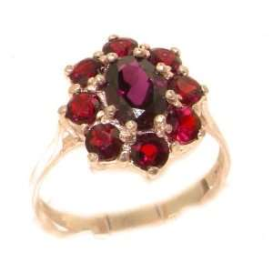 Luxury Ladies Solid Rose Gold Natural AAA Grade Garnet Cluster Ring