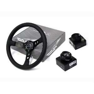 NRG 350MM Steering Wheel + Hub + Quick Release Black Combo Automotive