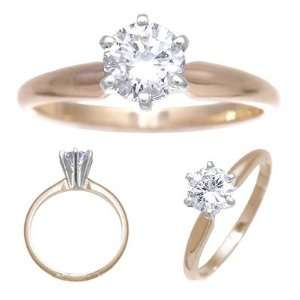 14k Yellow Gold Diamond Solitaire Engagement Ring 0.58ct Jewelry