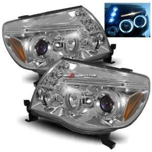 05 10 Toyota Tacoma Halo LED Projector Headlights   Chrome