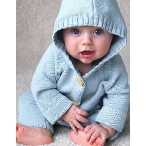 Beba Bean   Baby Cotton Knit Hoodie Sweater with Vintage Details, Blue