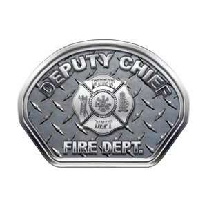 Firefighter Fire Helmet Front Face Deputy Chief Diamond Plate Decal