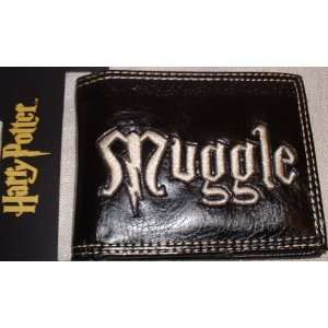 Harry Potter MUGGLE Logo Black Embroidered Bi Fold WALLET