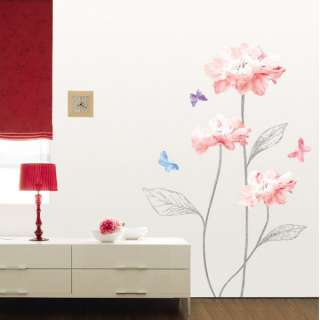 FLOWER BUTTERFLY WALL ROOM DOOR DECAL STICKER KR0020