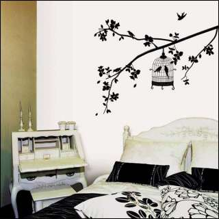 Tree Bird Cage Wall Sticker Art Mural Wall Paper Decal Deco Vinyl Wall