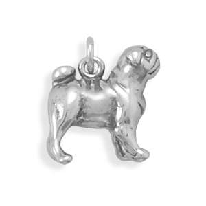 Sterling Silver Cute Pug Dog Puppy Lover Charm or Pendant