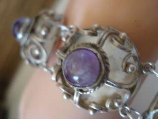 AMETHYST RARE UNIQUE MEXICO MEXICAN STERLING SILVER DOMED BRACELET