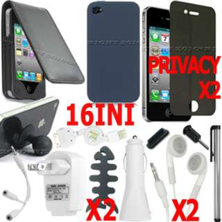 BLACK LEAHTER CASE SILICONE COVER LCD SCREEN PROTECTOR BUNDLE FOR
