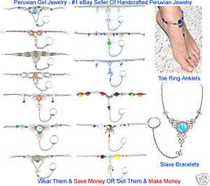 20 BODY JEWELRY MIXED SLAVE BRACELETS TOE RING ANKLETS