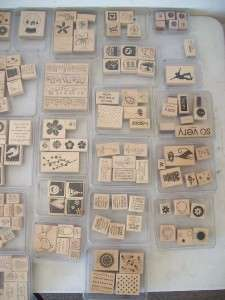 Mis Lot of 41 Stampin Up Stamps Ink Pad Stamp Kits Sets Plastic