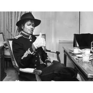 Pop Star Michael Jackson in His Hotel Room Prior to Party for Him at